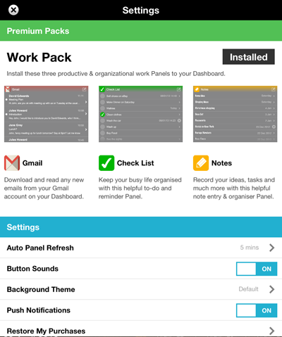 Work Pack Screen