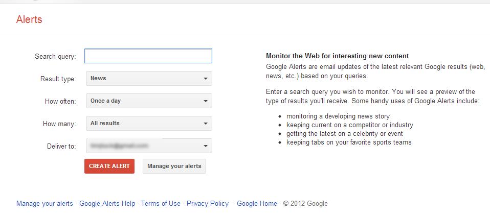 Google Alert form