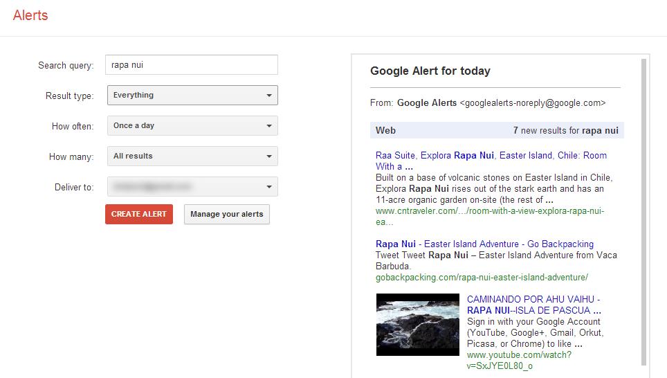 Google Alert form example