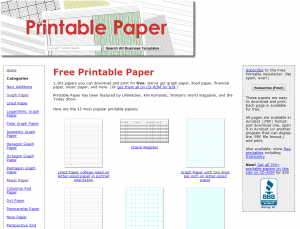 Printable papers website screenshot